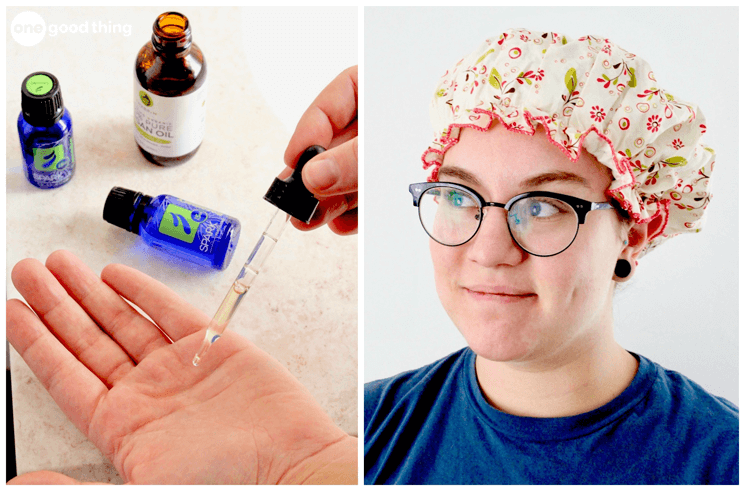 A collage showing several essential oils on one side and a woman wearing a shower cap on the other