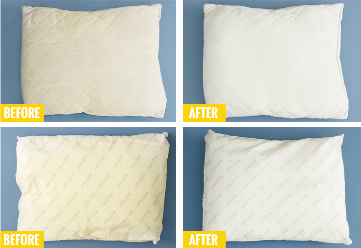 Our Production Manager Brittany Offered To Test Out This Method On A Of Her Old Pillows Check That Before And After