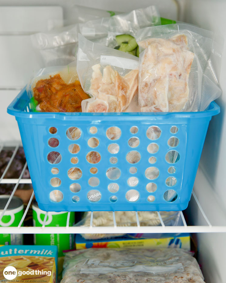vacuum sealed bags in the freezer